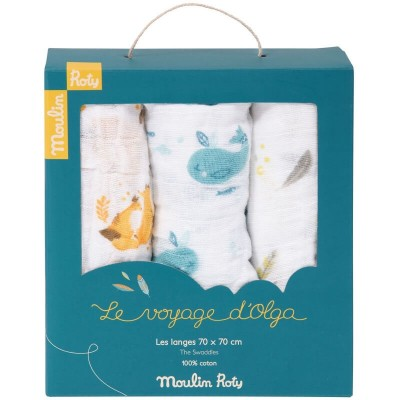 Moulin Roty Le Voyage d'Olga 100% Cotton Muslin Squares 3-Pack 70x70cm