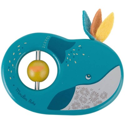 Moulin Roty Le Voyage d'Olga Wooden Ring Rattle - Josephine the Whale 11cm