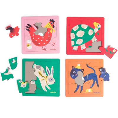 Moulin Roty Les Bambins Box of 4 Animal Puzzles 19x19cm