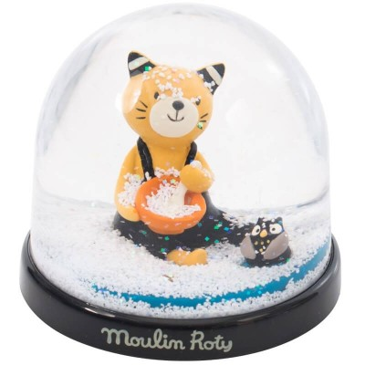 Moulin Roty Les Moustaches Cat Snow Globe 8x7.5cm