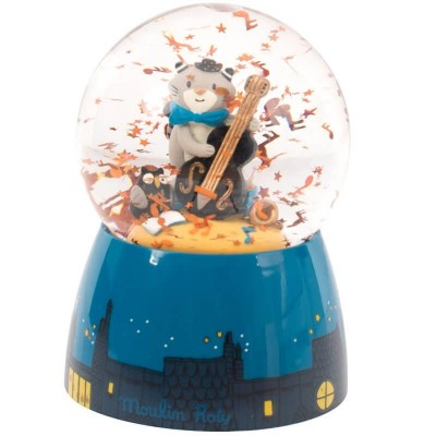 Moulin Roty Les Moustaches Musical Snow Globe 11x13.5cm
