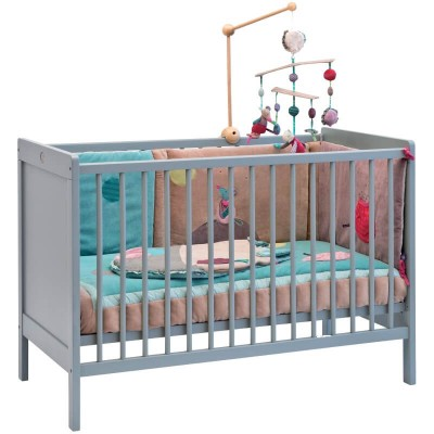 Moulin Roty Child Beech Wood Bed - Grey 125 x 65cm