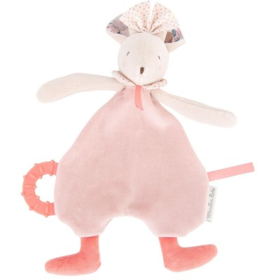 Moulin Roty Il Etait Une Fois Mimi the Pink Mouse Comforter with Teething Ring 28cm