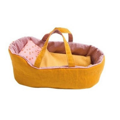 Moulin Roty La Famille Mirabelle Medium Yellow Dolls Carry Cot 29x17cm