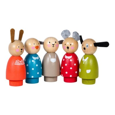 Moulin Roty La Grande Famille 5 Assorted Wooden Characters 7.5cm