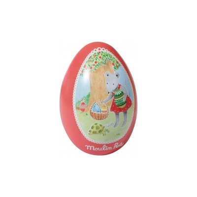 Moulin Roty La Grande Famille Large Tin Egg Red - Nini the Mouse 13.5x19cm