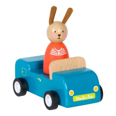 Moulin Roty La Grande Famille Wooden Blue Car with Rabbit 11cm