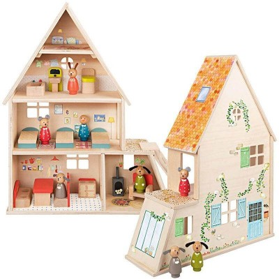 Moulin Roty La Grande Famille Wooden Doll House with Furnitures 41x53cm