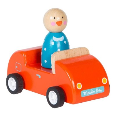Moulin Roty La Grande Famille Wooden Red Car with Goose 11cm