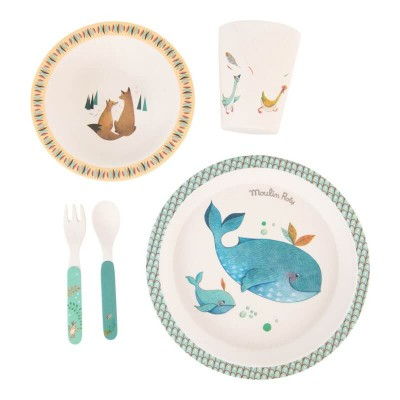 Moulin Roty Le Voyage d'Olga Baby Safe Bamboo Dish Set 27x24cm