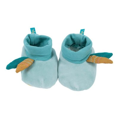 Moulin Roty Le Voyage d'Olga Blue Baby Slippers 0-6mos