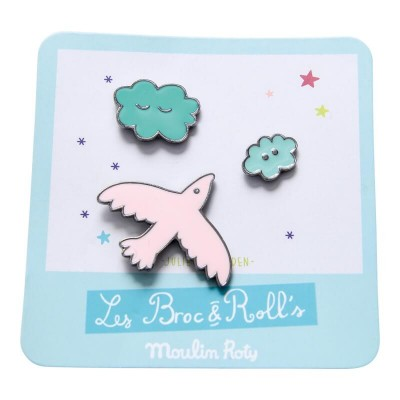 Moulin Roty Les Broc & Rolls 3 Laquered Pins - Bird/Clouds 3x3cm