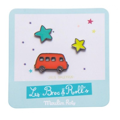 Moulin Roty Les Broc & Rolls 3 Laquered Pins - Bus/Stars 3x1.5cm