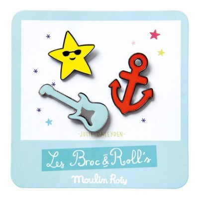 Moulin Roty Les Broc & Rolls 3 Laquered Pins - Guitar/Anchor/Star 3x1.5cm