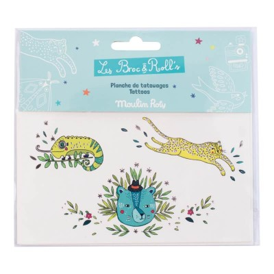 Moulin Roty Les Broc & Rolls Tattoos - Wild Animals 14x8cm