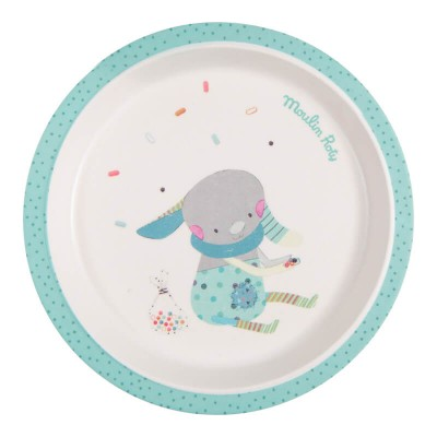 Moulin Roty Les Jolis Trop Beaux Baby Safe Bamboo Blue Plate 21cm