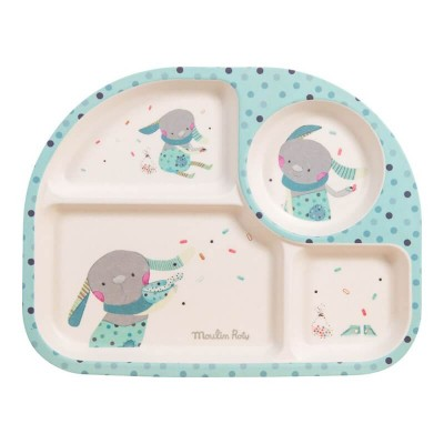 Moulin Roty Les Jolis Trop Beaux Baby Safe Bamboo Blue Tray 27x21x2