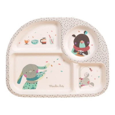 Moulin Roty Les Jolis Trop Beaux Baby Safe Bamboo Grey Tray 27x21x2cm