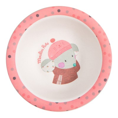 Moulin Roty Les Jolis Trop Beaux Baby Safe Bamboo Pink Bowl 14x4cm