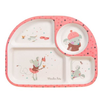 Moulin Roty Les Jolis Trop Beaux Baby Safe Bamboo Pink Tray 27x21x2