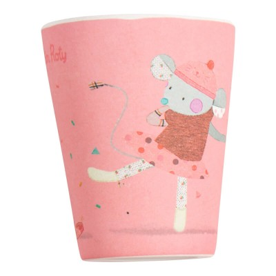 Moulin Roty Les Jolis Trop Beaux Baby Safe Bamboo Pink Tumbler 7.5x9.5 cm