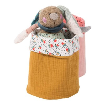 Moulin Roty Les Jolis Trop Beaux Brown Basket Cosmetics Bag 15x19 cm