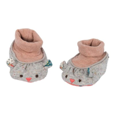 Moulin Roty Les Jolis Trop Beaux Grey Mouse Baby Slippers 0-6mos