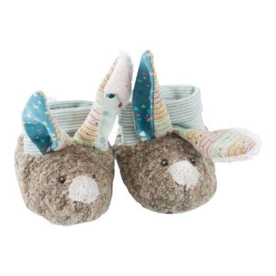 Moulin Roty Les Jolis Trop Beaux Rabbit Baby Slippers 0-6mos