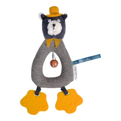 Moulin Roty Les Moustaches Alphonse the Cat Ring Rattle with Teethers 26cm