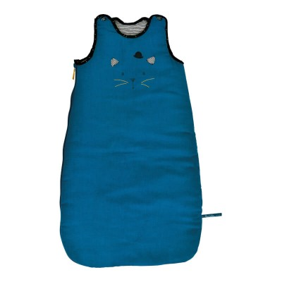 Moulin Roty Les Moustaches Blue Cat Baby Sleeping Bag 70cm (3.1 TOG)