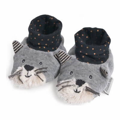 Moulin Roty Les Moustaches Fernand the Cat Baby Slippers 0-6mos