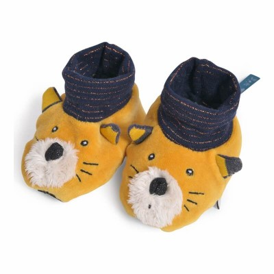Moulin Roty Les Moustaches Lulu the Cat Baby Slippers 0-6mos