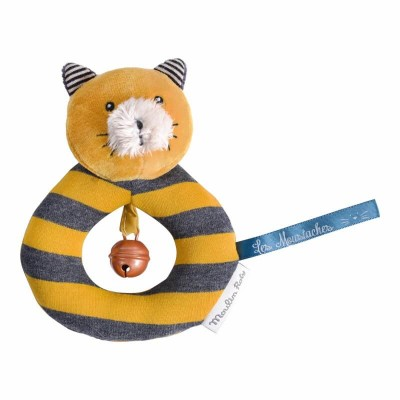 Moulin Roty Les Moustaches Lulu the Cat Ring Rattle 14cm