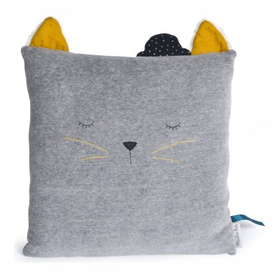 Moulin Roty Les Moustaches Sleepy Cat Grey Cushion 30x30cm