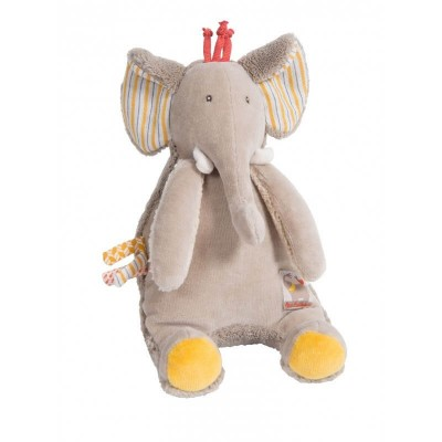 Moulin Roty Les Papoum Musical Pullstring Elephant 17cm