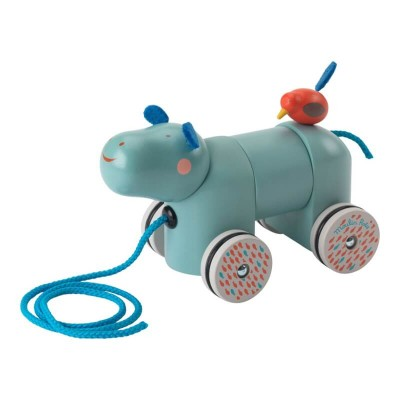 Moulin Roty Les Papoum Pull Along Hippo 17.5x9x11.5cm