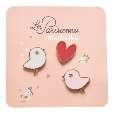 Moulin Roty Les Parisiennes 3 Laquered Pins - Birds/Heart 2x1.5cm