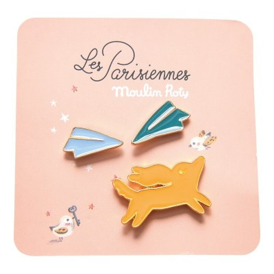 Moulin Roty Les Parisiennes 3 Laquered Pins - Dog/Paper Planes 3x2cm