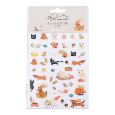 Moulin Roty Les Parisiennes 46-Set Animal Stickers 11x14cm