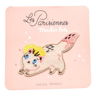 Moulin Roty Les Parisiennes Iron-On Embroidered Patch - Cat 8x6cm