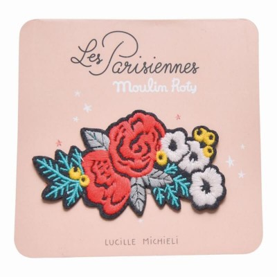 Moulin Roty Les Parisiennes Iron-On Embroidered Patch - Flower 8.5x4.5cm