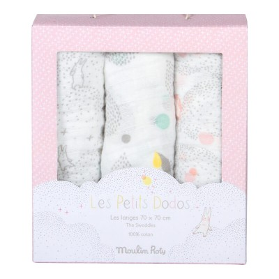 Moulin Roty Les Petits Dodos Classic Square Muslin 70x70cm, 3-Pack, Grey/White/Pink