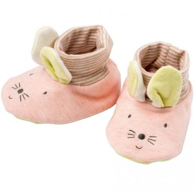 Moulin Roty Les Petits Dodos Mouse Baby Slippers 0-6mos