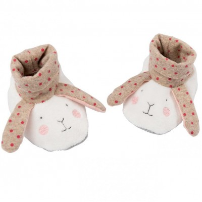 Moulin Roty Les Petits Dodos Rabbit Baby Slippers 0-6mos