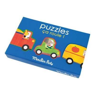 Moulin Roty Les Popipop Set of 4 Vehicle Puzzles (32 pieces)