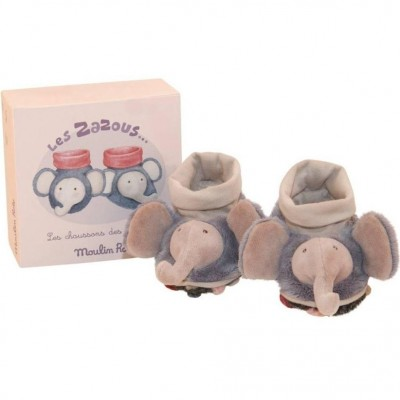 Moulin Roty Les Zazous Elephant Baby Slippers 0-6mos