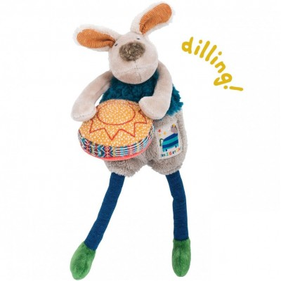 Moulin Roty Les Zig et Zag Drum-Playing Dog Rattle 23cm